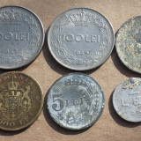 Set 6 monezi:2 lei 1951, 5 lei 1942, 20 lei 1944, 100 lei 1943, 1944, 2000 lei 1946 - Moneda Romania
