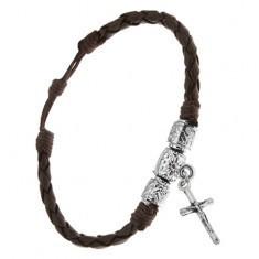 Brățară împletită maro ciocolatiu, cilindri decorativi, cruce - Bratara prieteniei