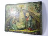g Icoana mica veche ruseasca litografie aplicata pe lemn Nasterea lui Isus IIsus
