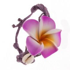 Brățară mov - fire împletite, floare, cochilii lucioase - Bratara prieteniei
