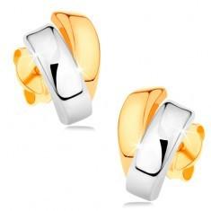 Inel lucios din aur de 14K - două linii curbate în două culori de aur, prindere cu şurub - Cercei aur