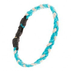Brățară împletită realizată din șnururi albe și bleu deschis - Bratara prieteniei