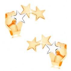Cercei din aur 585 - două stele din aur galben şi una din aur alb - Cercei aur