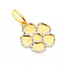 Pandantiv din aur galben 14K - floare plată cu cinci petale, gravată - Pandantiv aur alb