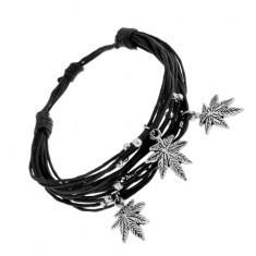 Brățară neagră cu șnururi, mărgele din oțel și amulete - frunze de canabis - Bratara prieteniei