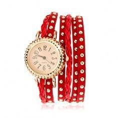 Ceas brățară, lungime ajustabilă, roșie, șnur împletit - Ceas dama