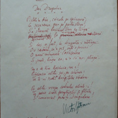 Poezie in manuscris, Victor Eftimiu ; IDan Dragodan, 1954, mason, aroman - Autograf