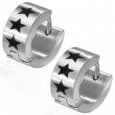 Cercei rotunzi din oțel chirurgical de culoare argintie, trei stele negre