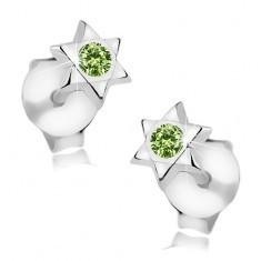 Cercei din argint 925, Steaua lui David, cristal Swarovski rotund, verde - Cercei argint