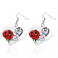 Cercei inimă din oțel - fată sexy, trandafir - Cercei inox