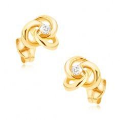 Cercei din aur 375 - inele interconectate cu zirconiu în mijloc - Cercei aur