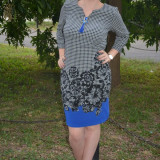 Rochie de zi, croi clasic, model scurt in nuanta de negru-albastru (Culoare: NEGRU-ALBASTRU, Marime: 42)