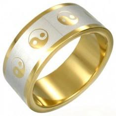Inel auriu cu simbolul Yin-Yang
