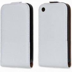 Toc Flip Piele Ecologica Apple iPhone 3GS Vertical Alb