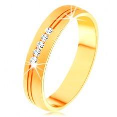 Inel din aur galben de 14K cu suprafaţă satinată, crestătură dublă, zirconii transparente - Inel barbati