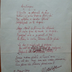 Poezie in manuscris, Victor Eftimiu ; Anotimpuri, 1954, mason, aroman - Autograf