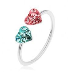 Inel din argint 925, extensibil, o inimă roz și una albastră decorate cu zirconii - Inel argint