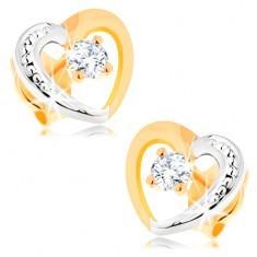 Cercei din aur 14K - contur inimă în două culori, zirconii - Cercei aur