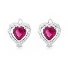 Cercei realizați din argint 925, zirconiu roșu model inimă, strasuri transparent - Cercei argint