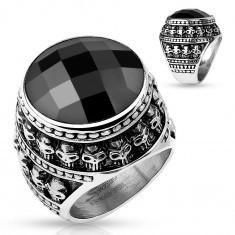 Inel din oțel patinat, piatră neagră șlefuită, contur din cranii mici - Inel inox
