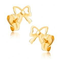 Cercei din aur 375 cu şurub - fundiţe decupate strălucitoare - Cercei aur