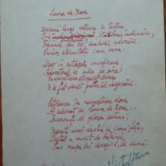 Poezie in manuscris, Victor Eftimiu ; Laura de Nove, 1954, mason, aroman - Autograf