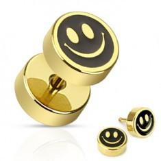 Plug fals din oțel – smiley negru cu auriu
