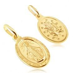 Pandantiv din aur - placă ovală cu Fecioara Maria - Pandantiv aur