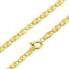 Lanț din aur- zale alungite plate, raze canelate, 500 mm - Lantisor aur
