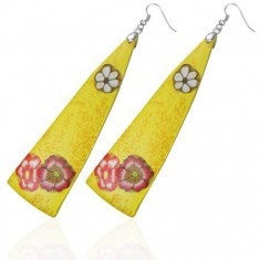 Cercei FIMO - triunghiuri galbene, flori