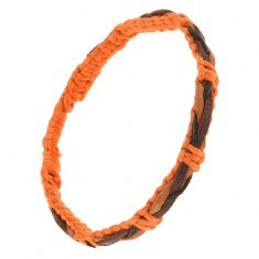 Brățară realizată din șnururi portocalii, împletitură neagru cu maro la suprafață - Bratara prieteniei