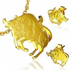 Set auriu din oțel - cercei cu șurub și pandantiv, Taur - Cercei inox