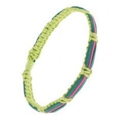 Brățară verde deschis realizată din șnururi, bandă din piele verde închis și fucsia - Bratara prieteniei