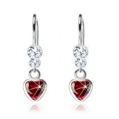 Cercei din argint 925, inimă din zirconiu roşu, cristale Swarovski transparente - Cercei argint