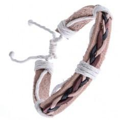 Brăţară din piele bej - trei şnururi împletite - Bratara piele