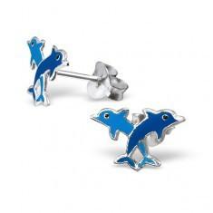 Cercei argint 925 - delfini colorați