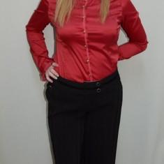 Pantalon lejer din stofa neagra, masura mare, model usor evazat (Culoare: NEGRU, Marime: 48) - Pantaloni dama