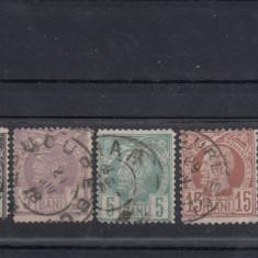 ROMANIA 1885/88, LP 42, CAROL I - VULTURI HARTIE ALBA SERIE STAMPILATA - Timbre Romania