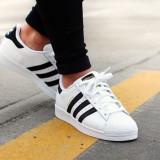 Adidasi Adidas SuperStar albi cu negru marimi 36 - 44 - Adidasi barbati, Marime: 37, 38, 39, 40, 41, 42, 43, 45, Culoare: Din imagine, Piele sintetica