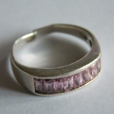 Inel de argint cu zirconii roz-1192 - Inel argint