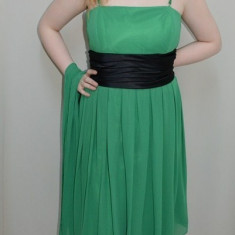 Rochie de ocazie din voal aplicat peste saten, in nuanta de verde (Culoare: VERDE, Marime: 42) - Rochie ocazie, Cu bretele