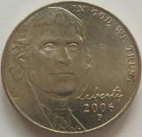 Moneda 5 Centi - SUA, anul 2006 *cod 4328 Litera P, America de Nord