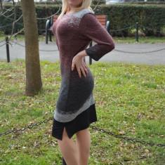 Rochie comoda de zi, model deosebit cu design fashion, colorat (Culoare: PUDRA, Marime: 48) - Rochie de zi, Din imagine, 3/4, Poliester
