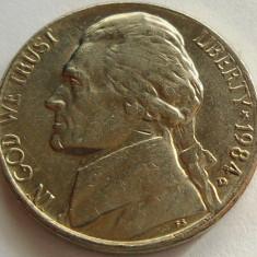 Moneda 5 Centi - SUA, anul 1984 *cod 4314 Litera D, America de Nord