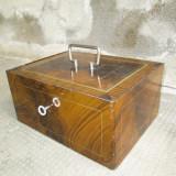 Caseta veche pentru valori, cutie veche fier / metal cu cheie; maner cromat - Metal/Fonta