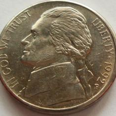 Moneda 5 Centi - SUA, anul 1992 *cod 4320 Litera P, America de Nord