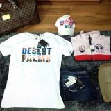 """Tricou Dsquared """"Desert Palm"""" D2 Made in Italy model NOU MARTIE 2017 LIMITAT!!! - Tricou barbati Dsquared2, Marime: L, Culoare: Alb, Maneca scurta, Bumbac"""