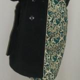 Palton negru si lung, maneci din piele ecologica matlasata (Culoare: NEGRU, Marime: M-38) - Palton dama