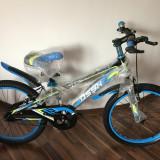 Bicicleta copii 20 inch 6-9 ani NEGRU cu ALBASTRU