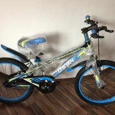 Bicicleta copii 20 inch 6-9 ani NEGRU cu ALBASTRU, Aluminiu, Numar viteze: 1